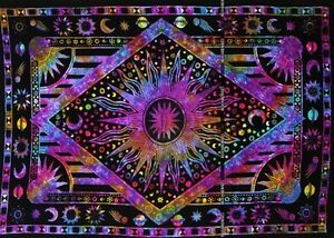 Celestial-Hippy-Tintura-Lazo-sol-luna-colgante-de-pared-ESTRELLA-multitapestry