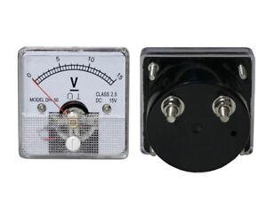 0- 15V DC Voltage Panel Meter Analog, with Internal Current Shunt.