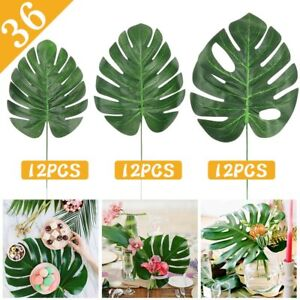 12x-Artificial-Tropical-Palm-Leaves-Plastic-Silk-Fake-Green-Leaves-Home-Decor