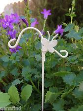 Miniature Dollhouse FAIRY GARDEN ~ Cream Metal Butterfly Plant Hanger Pick ~ NEW