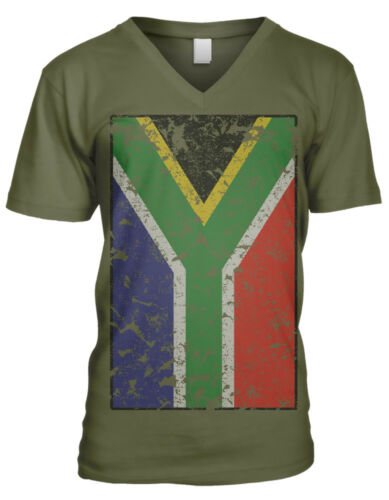 South Africa Faded Flag African Country Pride From Heritage Men/'s V-Neck T-Shirt