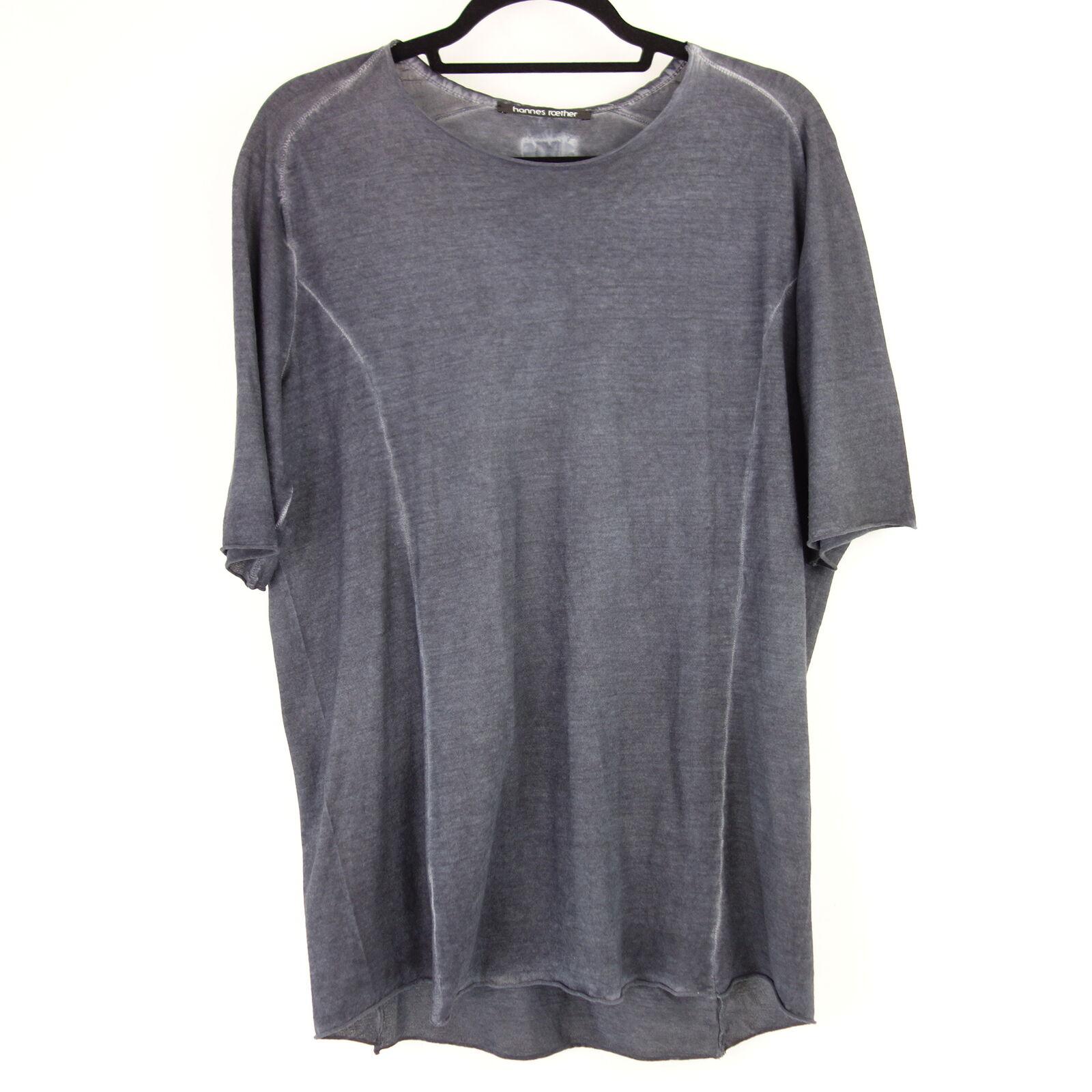 HANNES ROTHER Herren Shirt FA35KIR S M Blau Baumwolle Rollbund Kurzarm NP 89