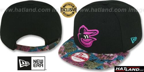 Orioles /'FLORAL-FUR STRAPBACK/' Black-Purple Hats by New Era