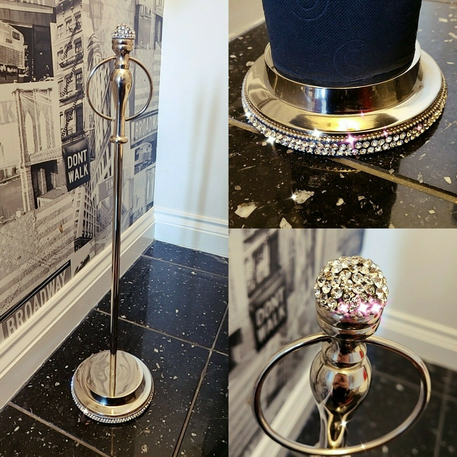 Freestanding Toilet Loo Roll Storage Holder with Swarovski Crystal Top and Base