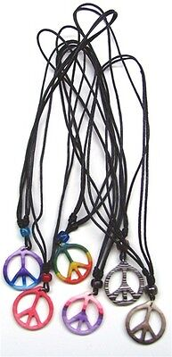 WHOLESALE LOT OF 12 DAYGLO PEACE SIGN HIPPIE NECKLACES jewelry pink yellow green