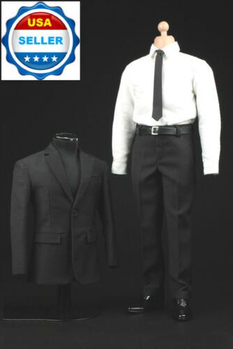 "16 Men Black White Business Suit Set For 12"" Hot Toys PHICEN Male Figure ❶USA❶"