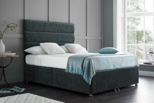 GREY CHARCOAL HEADBOARD DOUBLE 4FT6 CHENILLE DIVAN BED BASE STORAGE DRAWS