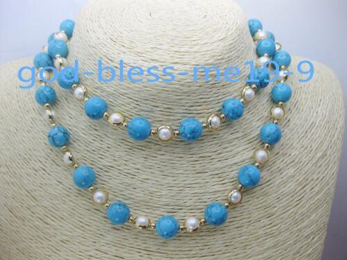 "mers du sud Blanc 6-7 mm turquoise perle collier boucles d/'oreilles 14k 30/"" superbes AAA"