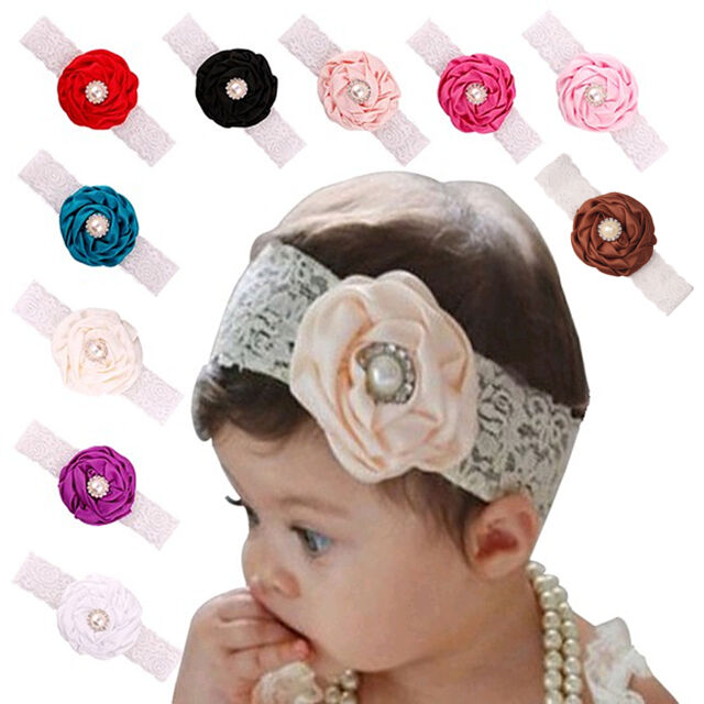 BRAND NEW Baby Girls// Toddler Soft Elastic Chiffon Flower Headband Purple Lilac