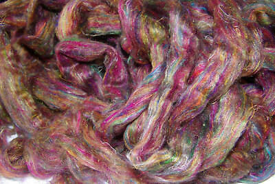 Carded Sari Silk Blue Multi Colour Recycled Silk To Felt Spin or Make Paper