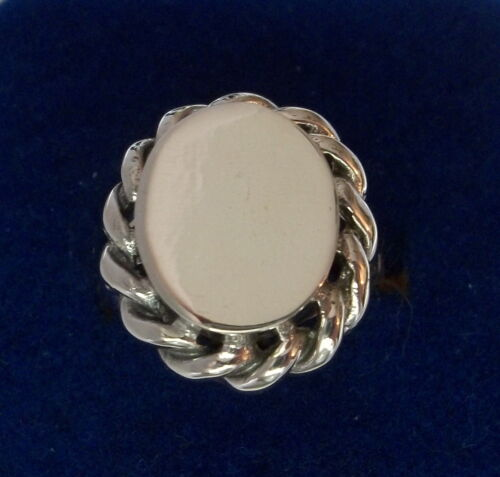 Clearance size 9 Sterling Silver Lg 5 gram Rope detail on Engraveable Oval Ring