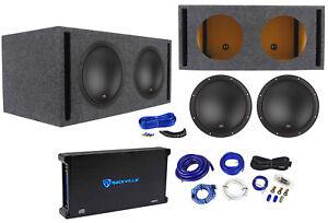 2-MTX-7512-22-12-034-3000w-Car-Subwoofers-Vented-Sub-Box-Mono-Amplifier-Amp-Kit