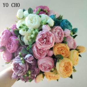 Flores-Artificiales-Rosas-falso-Seda-peonias-Ramo-Boda-Fiesta-Decoracion-Hogar