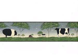 Details About Black White Cows Pigs Pasture Country Farm Barn House Primitive Wallpaper Border