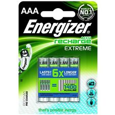 Energizer Accu Recharge Extreme 800mAh AAA Rechargeable Batteries 4 Pack New UK