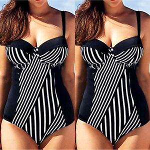 Women Plus Size Swimming Costume Padded Push Up Bra Monokini