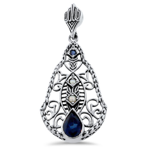 LAB SAPPHIRE /& SEED PEARL ANTIQUE DESIGN 925 STERLING SILVER PENDANT #388