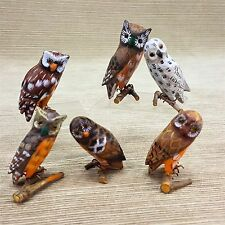 Hand Painted Wood Owl Set 6 Perched on Branch Figurine Bead Eyes Vintage