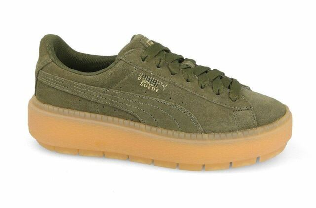 Women s PUMA Suede Platform Trace Wn s Lace-up Trainers in Green UK ... cf3f04d57