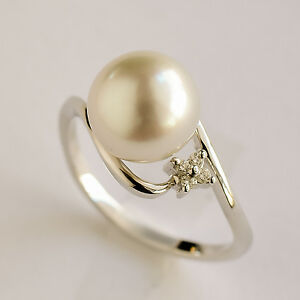 SOUTH-SEA-PEARL-RING-9-1mm-CULTURED-PEARL-DIAMONDS-ON-14K-WHITE-GOLD-SIZE-M