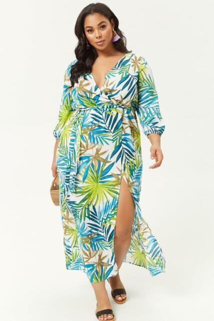 Forever 21 Plus Size Palm Leaf Print Maxi Dress 0X/2X/3X