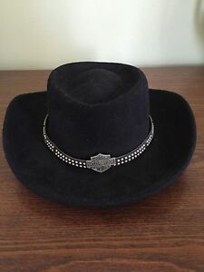 s harley davidson black felt cowboy hat ebay