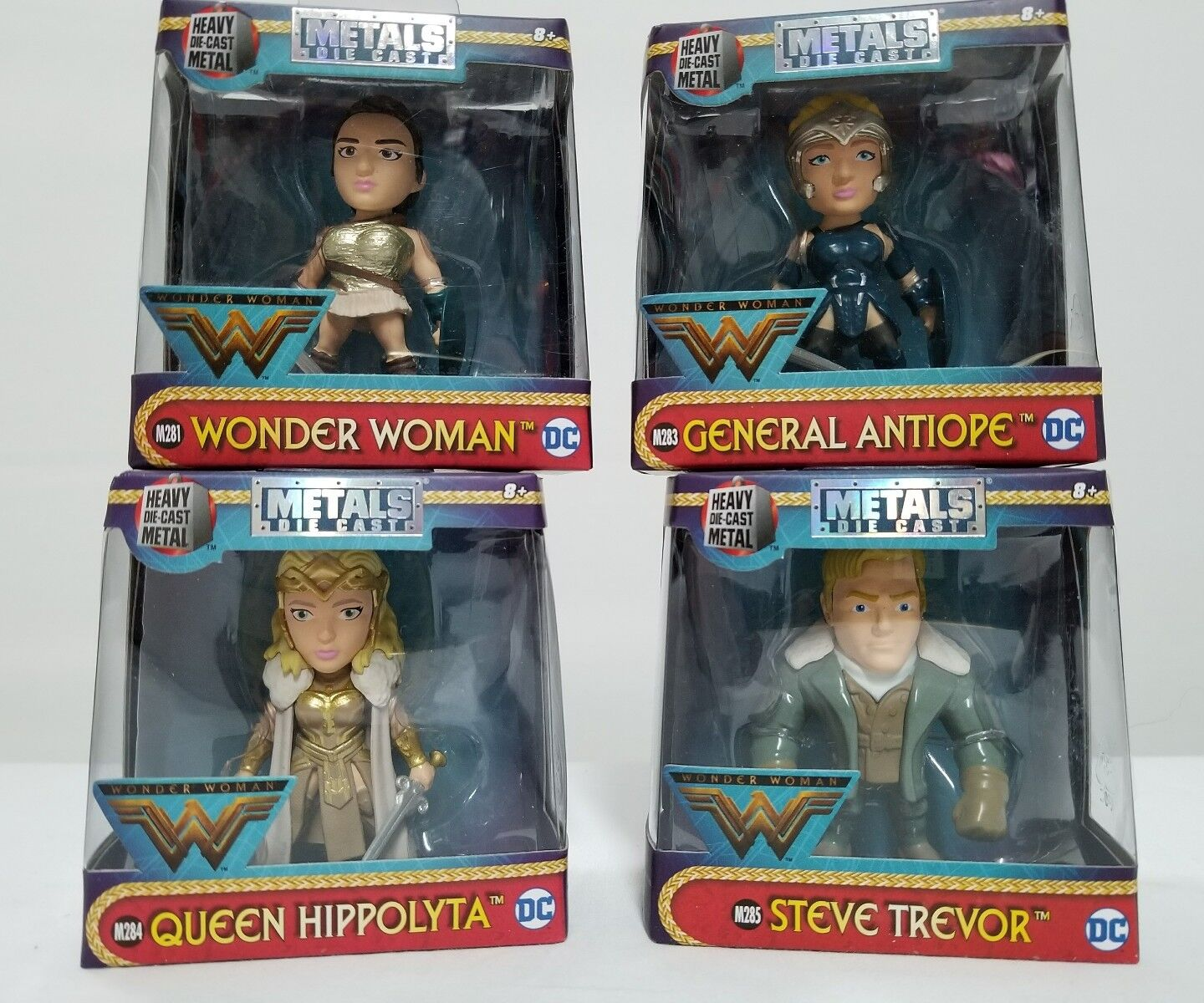 4 METAL DIE CAST FIGURES SET WONDER WOMAN STEVE TREVOR QUEEN HIPPOLYTA ANTIOPE