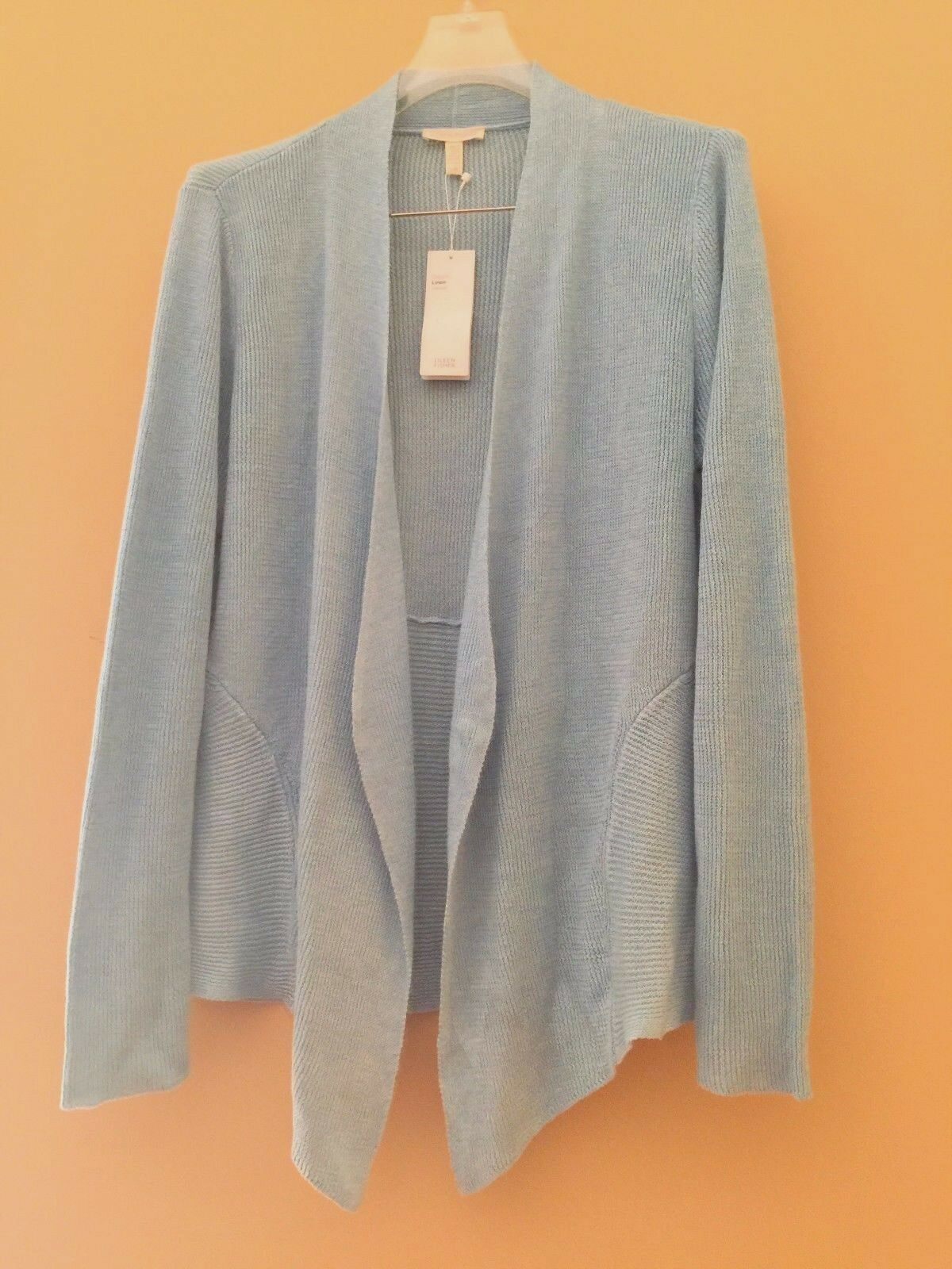 Eileen Fisher Windflower Windflower Windflower bluee Organic Linen Angled-Front Cardigan S a1ebf4