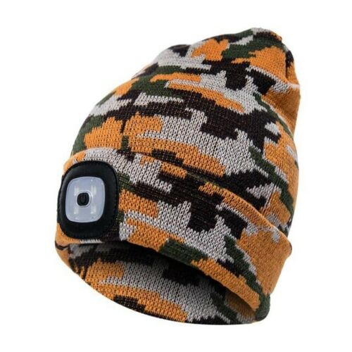 General LED Knitted Beanie Cap USB Rechargeable Headlamp Light Hat for Running