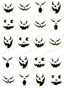 20 Halloween Nail Decals Scary Jack O Lantern Faces Water Slide