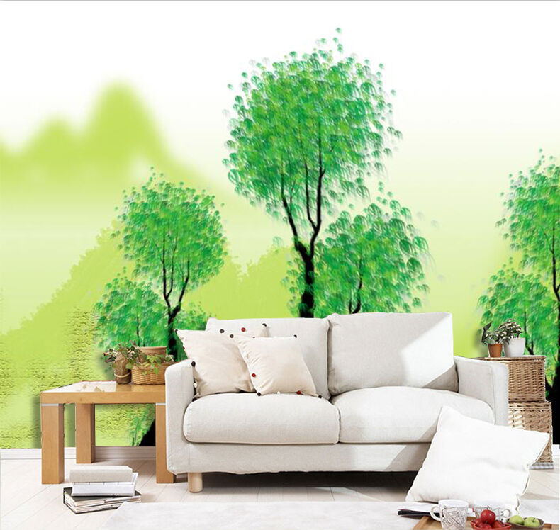 3D Green Trees Pattern 1 Wall Paper Print Decal Wall Deco Indoor wall Mural