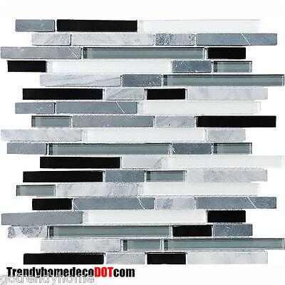 10-SF Gray black Glass marble Mosaic Tile kitchen backsplash wall bathroom sink