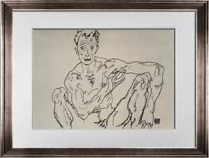 "Egon SCHIELE Lithograph SIGNED  ""Nude Self Portrait"" 1918 LIMITED Ed. w/FRAME"