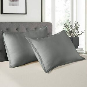 Shatex Pillow Shams Set of 2 Pillow Cases Soft Queen Size Grey Bedding Polyester