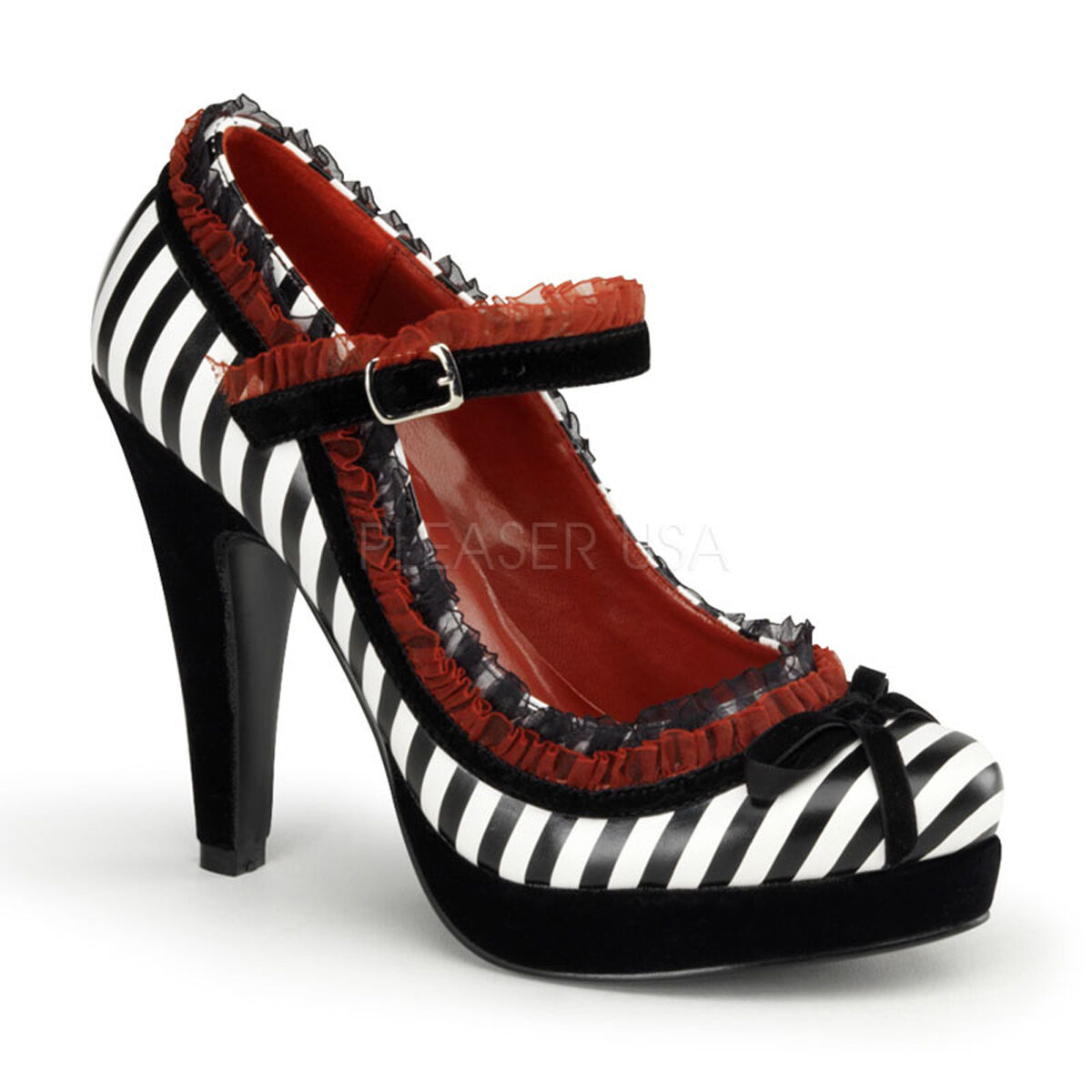 Sexy Bold Striped Velvet Lace Circus Mary Janes High Heels chaussures BETT18 BWPU