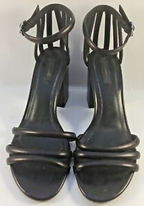 Alexander-Wang-Black-Leather-Abby-Metal-heel-Caged-Sandals-Womens-Size-EUR-39M
