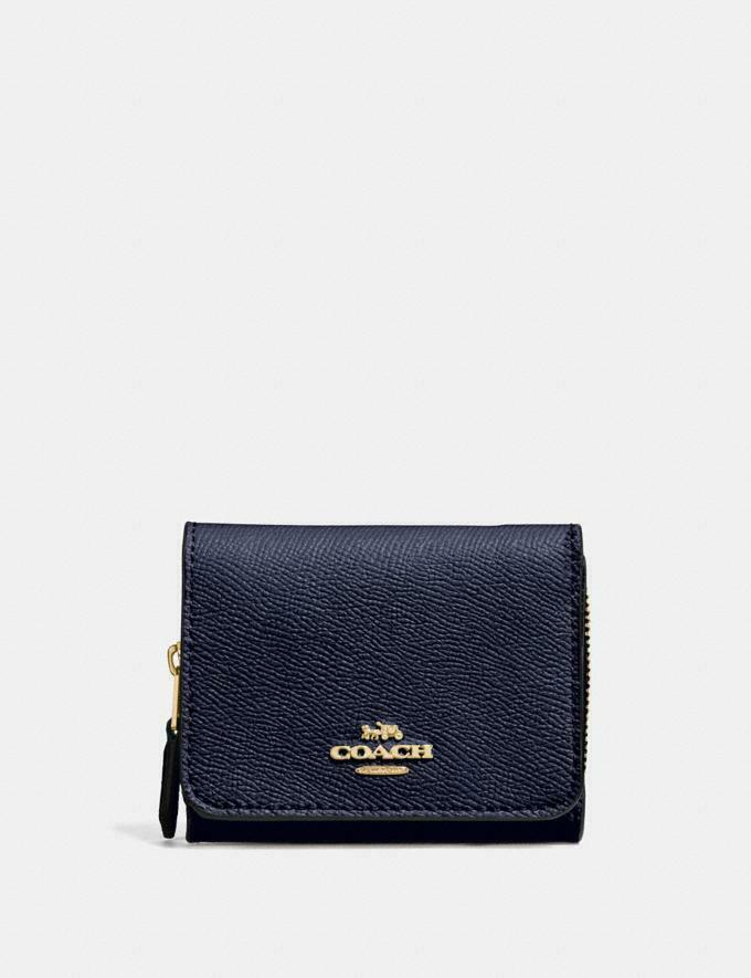 NEW Coach Signature Canvas Trifold Wallet MIDNIGHT BLUE | LIGHT GOLD -