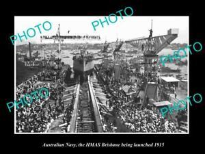 OLD-POSTCARD-SIZE-PHOTO-OF-AUSTRALIAN-NAVY-LAUNCHING-THE-HMAS-BRISBANE-c1915
