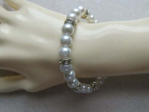 Hermoso Elegante Cristal Perla Y Diamante Collar Con Aretes que empareja