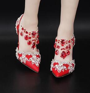 del Rhinestone la del boda Zapatos de la del la tarde las la de estilete mujeres de E75 alto de de tacón tarde bomba 7xPv6wP