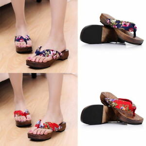 Women s Clogs Japanese Geta Wooden Flip Flops Floral Sandals ... 210a9b441f