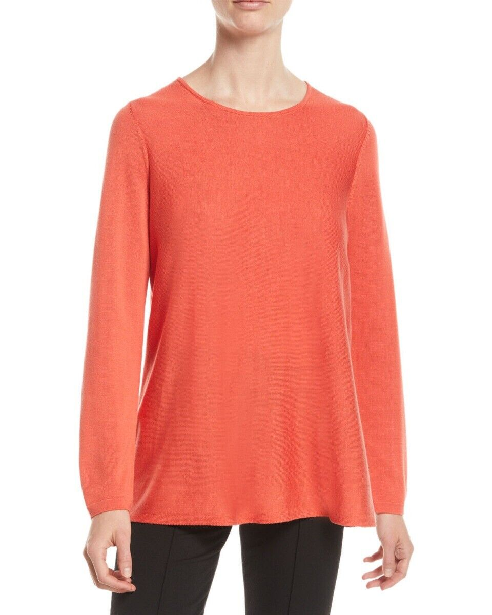 Eileen Fisher rot Lory Tencel Silk Round Neck Tunic Top PL NWT