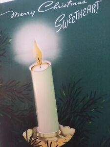 1950s-Vtg-SWEETHEART-Satin-PUFF-CANDLE-Norcross-Unsigned-CHRISTMAS-GREETING-CARD