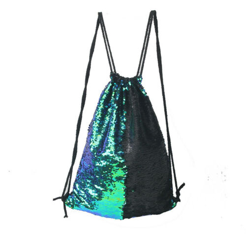 Women/'s Drawstring Sequin School Bag Gym Swimming Beach Sports Backpack Bags