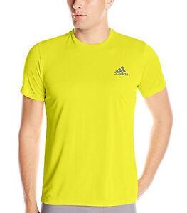 Adidas-Mens-Training-Essential-Tech-Tee-T-Shirt-Sizes-S-M-L-XL-2XL-Shock-Slime