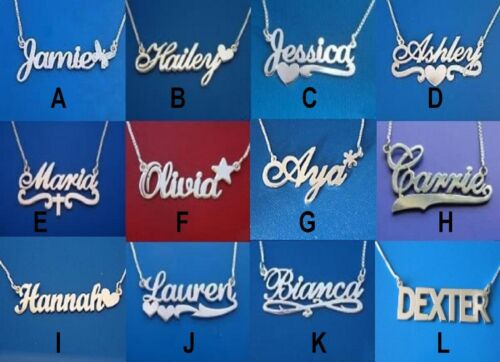 PERSONALIZED SINGLE STERLING SILVER ANY NAME ANY STYLE PLATE NECKLACE FREE CHAIN