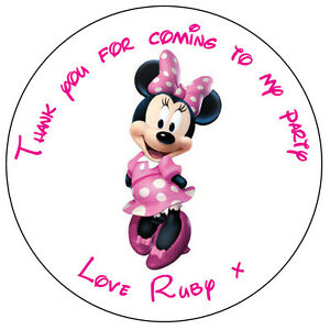 personalised minnie mouse labels 37mm stickers birthday party thank