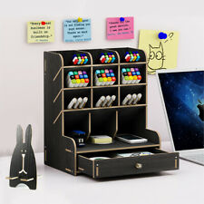 Wood Office Desk Organizer 12 Compartments 1 Drawers Pencils Office Storage