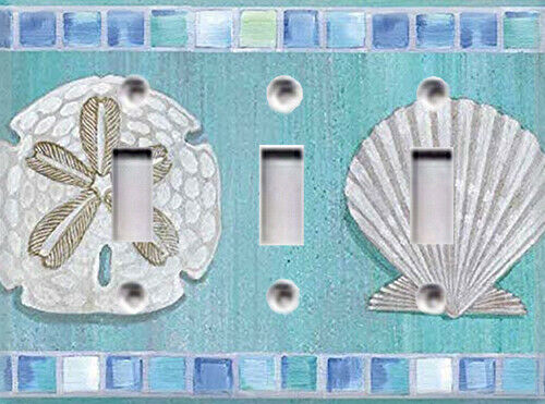 Ocean Mosaic Sea Shell #1  Themed Light Switch Cover Choose Your Cover