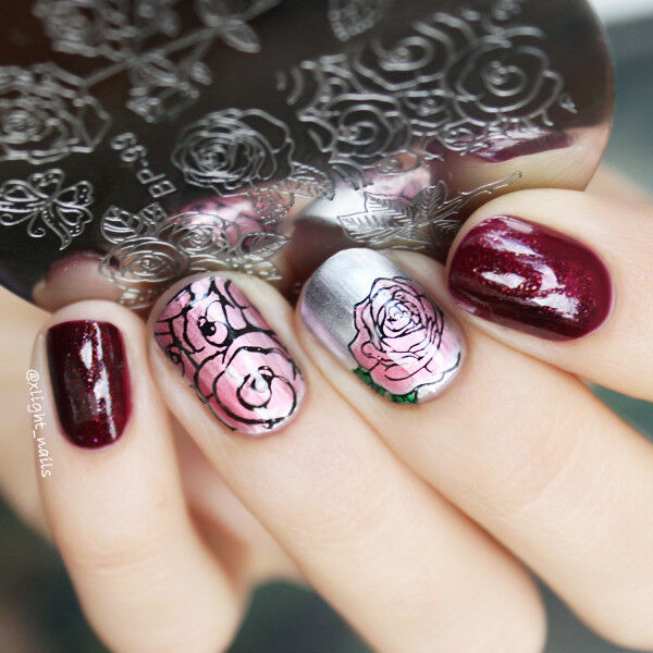 55cm Nail Art Stamp Template Butterfly Flower Image Plate Born